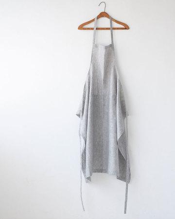 FOG LINEN WORK(フォグリネンワーク)  リネンフルエプロン グレー+ホワイトストライプ